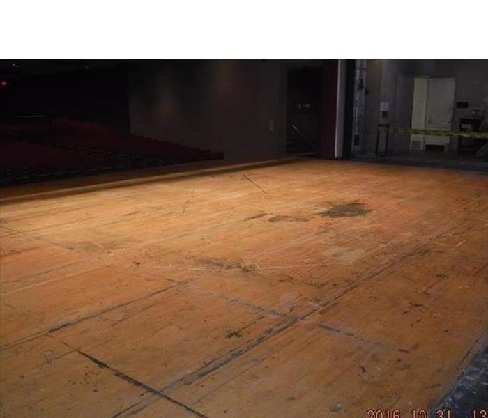 the wood floor is dry, clear of fixtures, empty