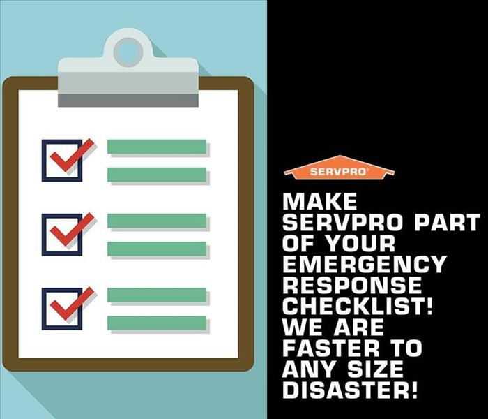 A clipboard with check marks, about SERVPRO being an emergency checklist.