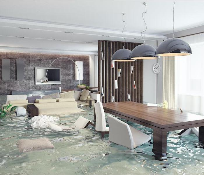 Flooded living room/dining room