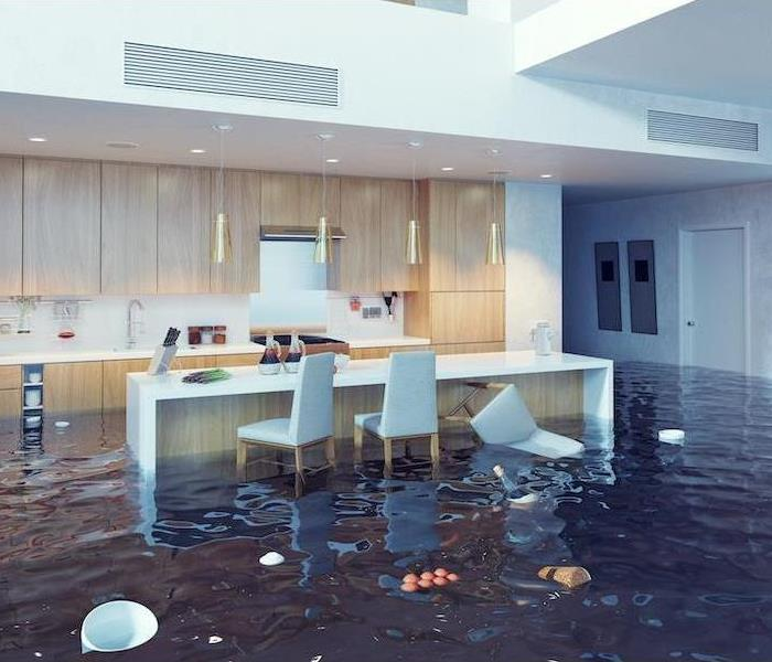 flooded out kitchen